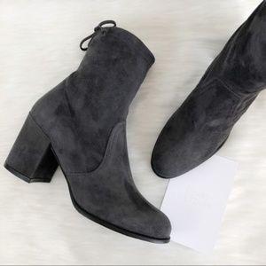 Stuart Weitzman Shorty Gray Block Heel Boot
